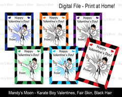 Karate Boy Digital Print at Home Valentines - Fair Skin, Black Hair
