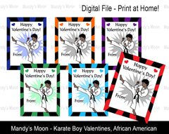 Karate Boy Digital Print at Home Valentines - African American