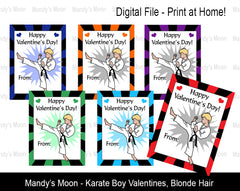 Karate Boy Digital Print at Home Valentines - Blonde Hair