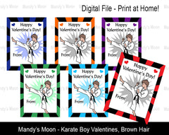 Karate Boy Digital Print at Home Valentines - Brown Hair
