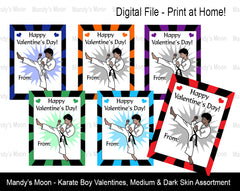 Karate Boy Digital Print at Home Valentines - Medium & Dark Skin Assortment