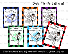 Karate Boy Digital Print at Home Valentines - Medium Skin, Black Curly Hair