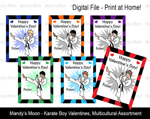 Karate Boy Digital Print at Home Valentines - Multicultural Assortment