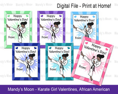 Karate Girl Valentines - African American - Digital file, Print at Home