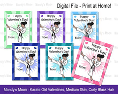 Karate Girl Valentines - Medium skin, curly black hair - Digital file, Print at Home