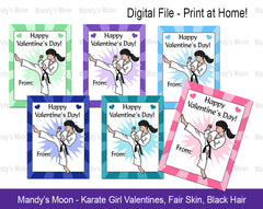 Karate Girl Valentines - Black Hair - Digital file, Print at Home