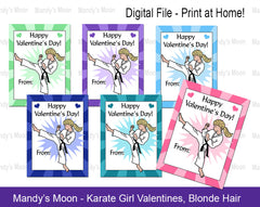 Karate Girl Valentines - Blonde Hair - Digital file, Print at Home