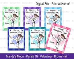 Karate Girl Valentines - Brown Hair - Digital file, Print at Home