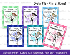 Karate Girl Valentines - Fair Skin Assortment - Digital file, Print at Home