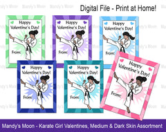 Karate Girl Valentines - Medium & Dark Skin Assortment - Digital file, Print at Home