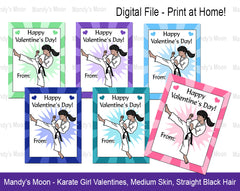 Karate Girl Valentines - Latina, Indian, Medium Skin - Digital file, Print at Home