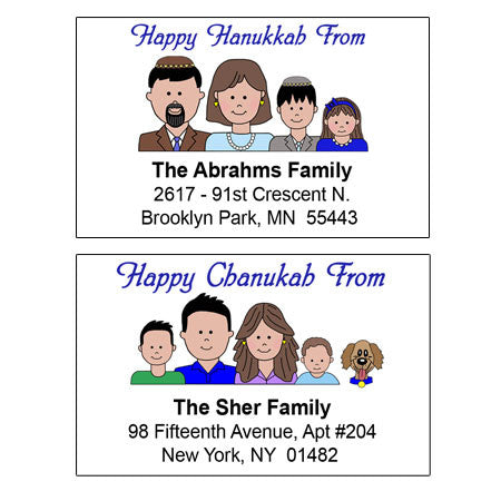 Cartoon Family Hanukkah Address Labels
