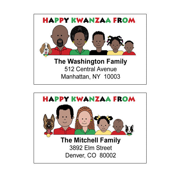 Cartoon Family Kwanzaa Address Labels