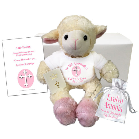 First Communion Gift Set - Personalized Stuffed Lamb