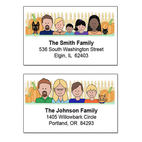 Cartoon Family Return Address Labels - Fall Theme