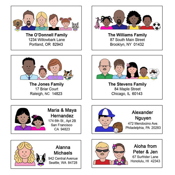 Cartoon Family Return Address Labels