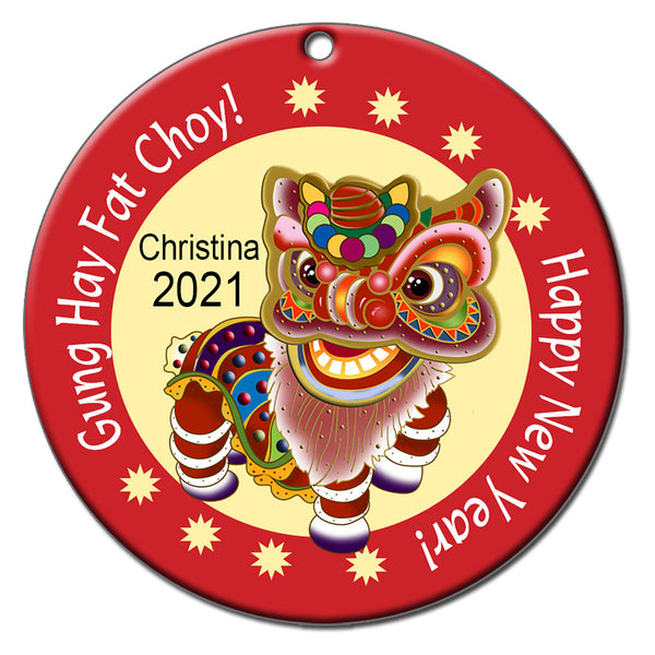 Lion Dancer Personalized Chinese New Year Ornament