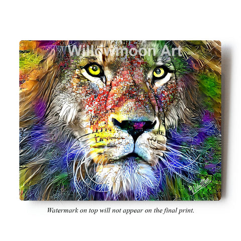 Multicolored Lion Metal Art Print by Willowmoon Art