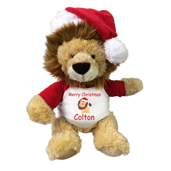 Personalized Christmas Lion - 12 Inch Tubbie Wubbie Lion with Santa Hat