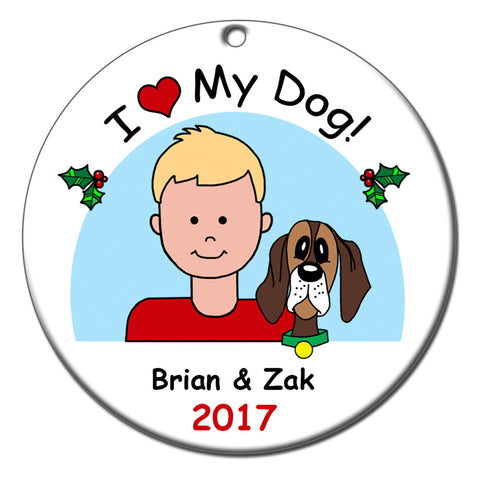 Cartoon Boy Christmas Ornament - I Love My Pets