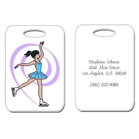 Ice Skating Bag Tag - Dainty Swirl Skater