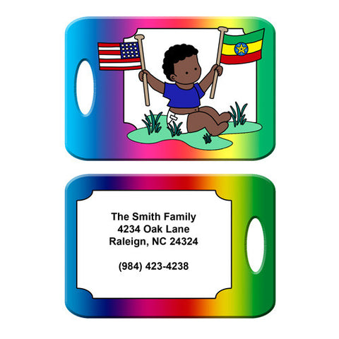 Flag Baby Adoption Bag Tag - Boy