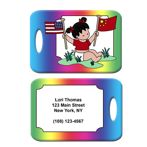Flag Baby Adoption Bag Tag - Girl