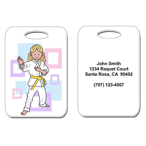 Martial Arts or Karate Kid Bag Tag - Girl