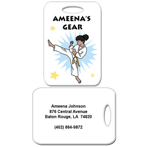 Karate or Martial Arts Girl Bag Tag - Kick Design