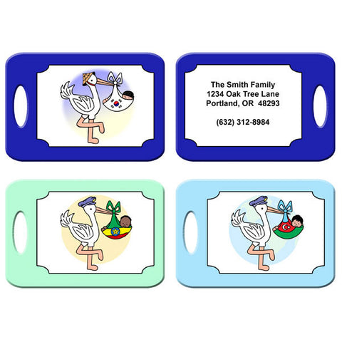 Adoption Stork Bag Tag - Boy