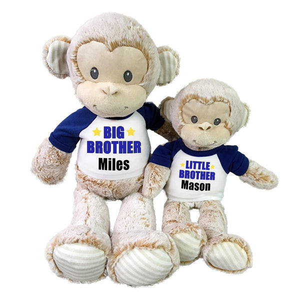 "Big Brother / Little Brother Personalized Stuffed Monkeys - Set of 2 Marlow Monkeys, 20"" and 12"""