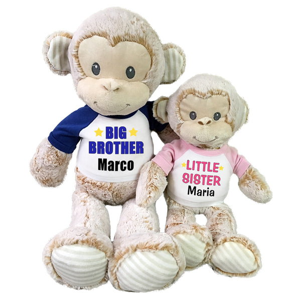 "Big Brother / Little Sister Personalized Stuffed Monkeys - Set of 2 Marlow Monkeys, 20"" and 12"""