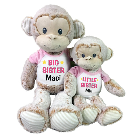 "Big Sister / Little Sister Personalized Stuffed Monkeys - Set of 2 Marlow Monkeys, 20"" and 12"""