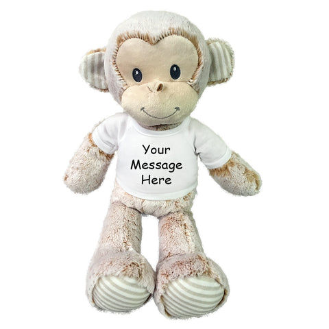 "Personalized Stuffed Monkey - 20"" Marlow Monkey, Ebba Baby Plush Collection"