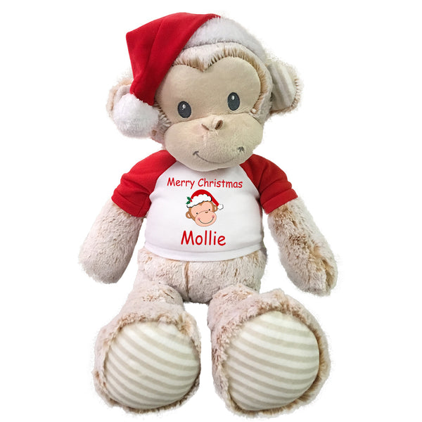 Personalized Christmas Monkey - 20 Inch Marlow Monkey with Santa Hat