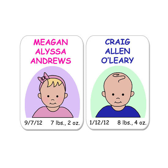 Baby Boy or Girl Birth Announcement Magnet