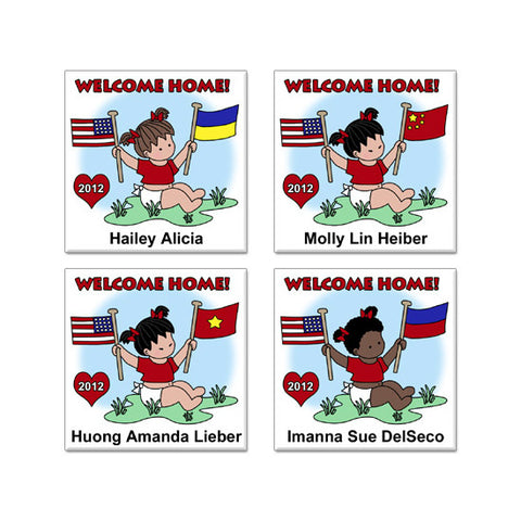 Flag Baby Adoption Magnet - Girl