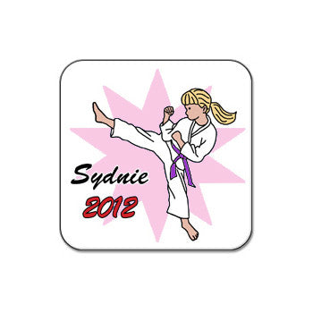 Karate or Martial Arts Girl Magnet - Kick Design