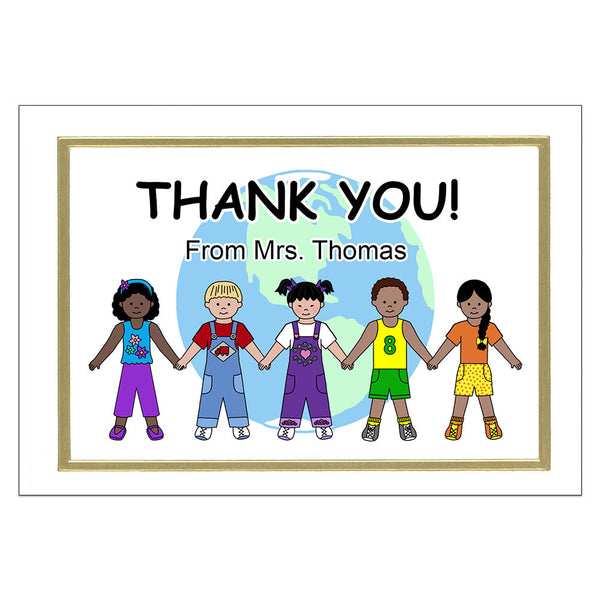 Personalized Multicultural Kids Thank You Note Cards