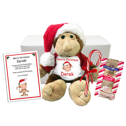 "Personalized Stuffed Monkey Christmas Gift Set - 12"" Monkey"