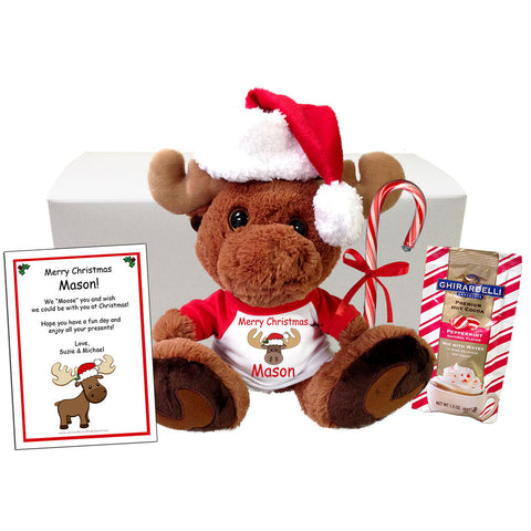 "Personalized Stuffed Moose Christmas Gift Set - 10"" Maple Moose"