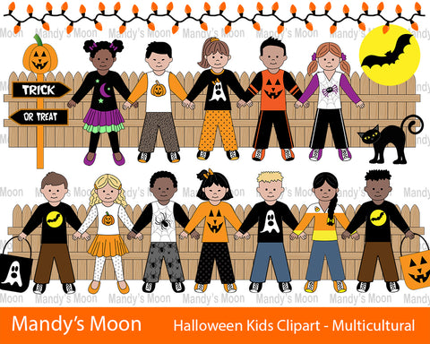 Halloween Kids Clipart Set - Multicultural Kids (Personal & Nonprofit Use only)
