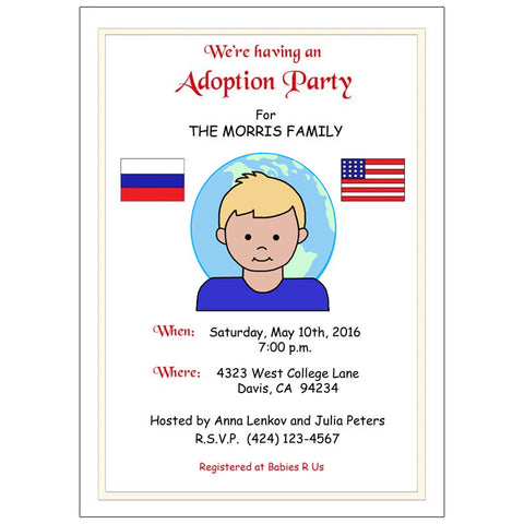 My Two Countries Adoption Party Invitation - Boy