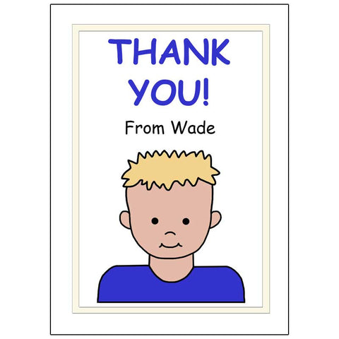 Cartoon Kid Personalized Thank You Note Cards - Boy