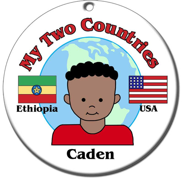 My Two Countries Adoption Ornament - Boy