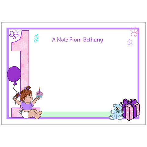 Babys 1st Birthday Thank You Card - Girl