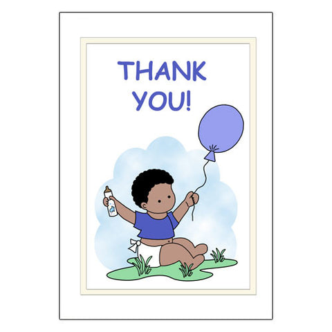 Balloon Baby Thank You Note Cards - Boy