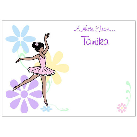 Dainty Floral Ballerina Thank You Note Cards