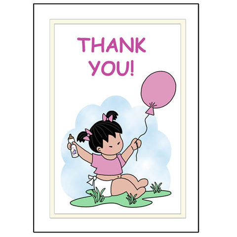 Balloon Baby Thank You Note Cards - Girl