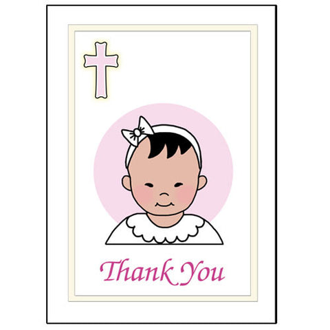 Baptism or Christening Thank You Note Cards - Girl